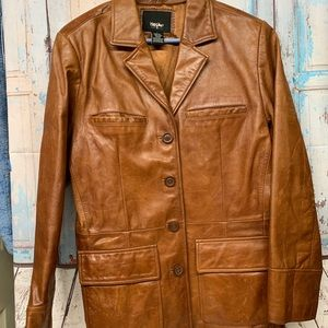 Mossimo Supply Co Tan Leather Jacket sz L